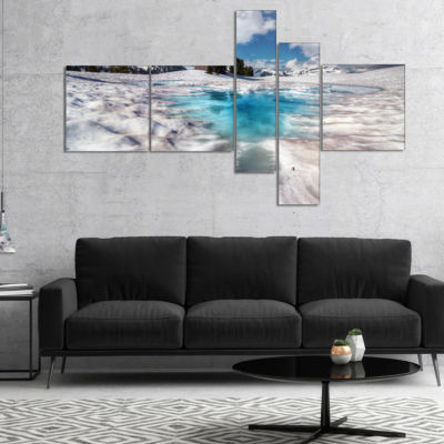 Designart Beautiful Snow Covered Lake MultipanelLandscape Canvas Art Print - 5 Panels