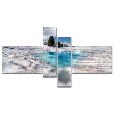 Designart Beautiful Snow Covered Lake MultipanelLarge Landscape Canvas Art Print - 4 Panels
