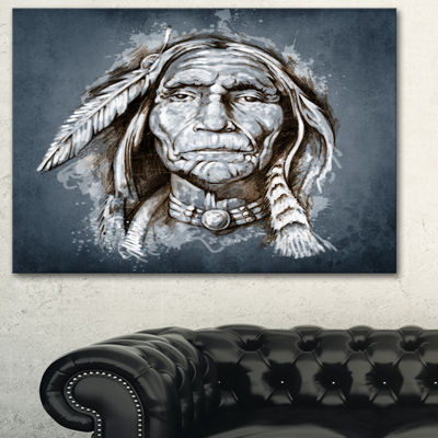 Designart Sketch Of Tattoo American Indian Portrait Canvas Print - 3 Panels