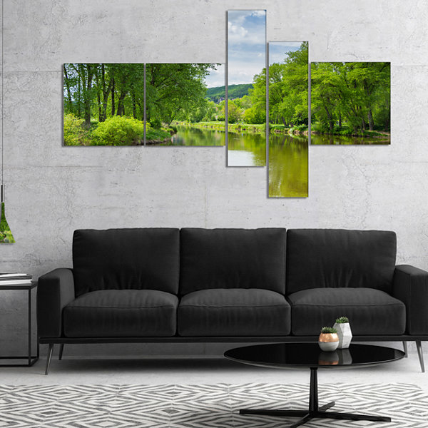 Designart Beautiful Summer With Green Grass Multipanel Large Landscape Canvas Art - 4 Panels