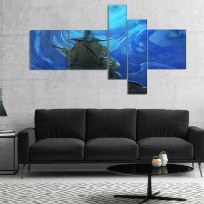 Designart Man Playing Guitar Multipanel Large Abstract Canvas Artwork - 4 Panels