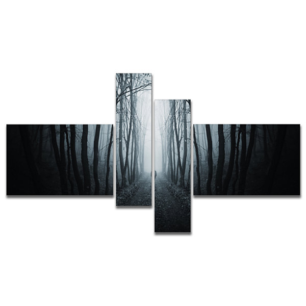 Designart Man Walking In Dark Forest Multipanel Landscape Photography Canvas Print - 4 Panels