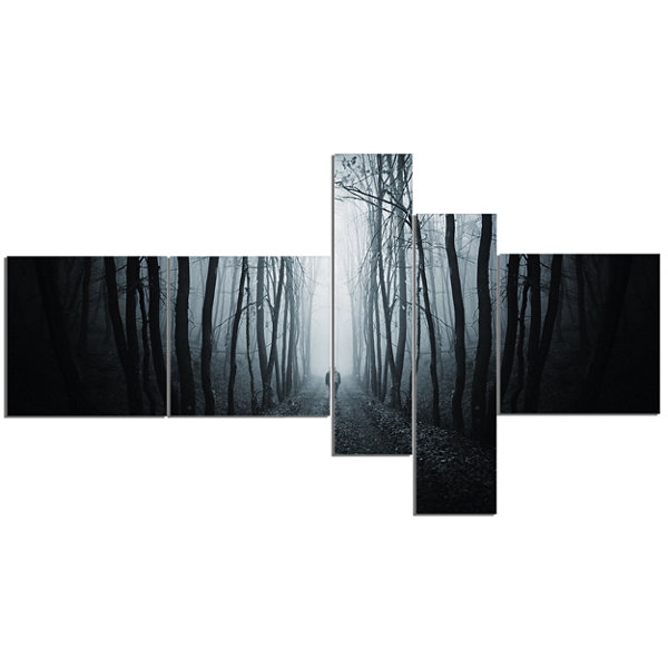Designart Man Walking In Dark Forest Multipanel Landscape Photography Canvas Print - 5 Panels