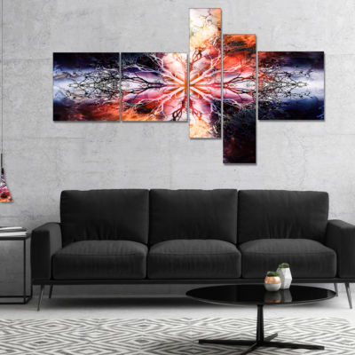 Designart Mandala With Tree Pattern Multipanel Abstract Art On Canvas - 5 Panels