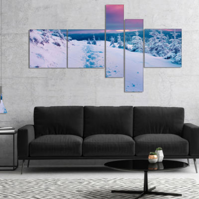 Designart Beautiful Sunrise Over Winter MountainsMultipanel Landscape Canvas Art Print - 5 Panels