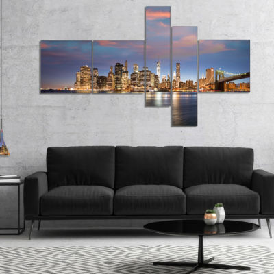 Designart Manhattan At Nighttime Multipanel Cityscape Photography Canvas Print - 4 Panels