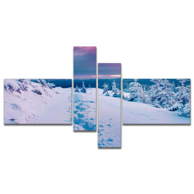 Designart Beautiful Sunrise Over Winter MountainsMultipanel Large Landscape Canvas Art Print - 4 Panels