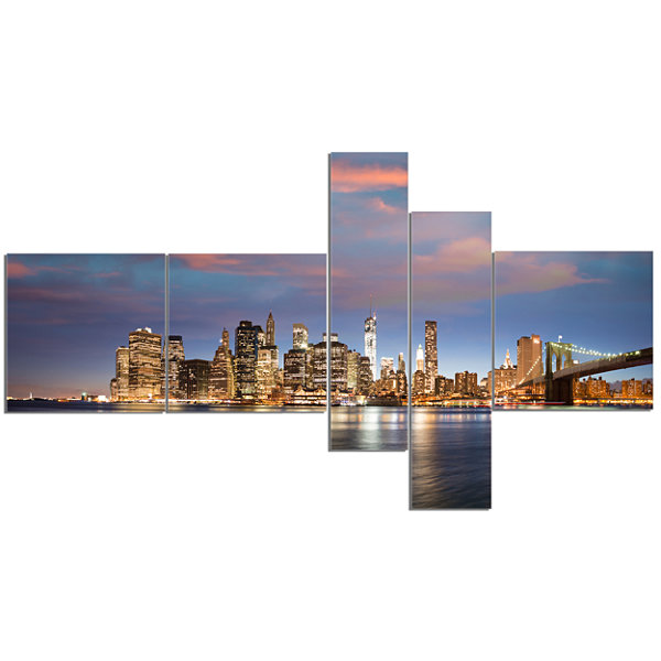 Designart Manhattan At Nighttime Multipanel Cityscape Photography Canvas Print - 5 Panels