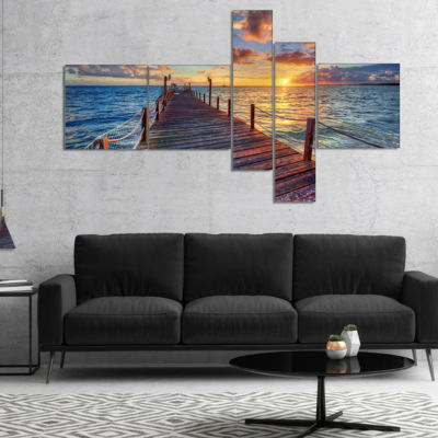 Designart Beautiful Sunset Over Sea Pier Multipanel Modern Canvas Art Print - 4 Panels