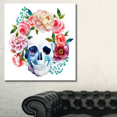 Designart Skull Bouquet Vector Art Contemporary Canvas Artwork - 3 Panels
