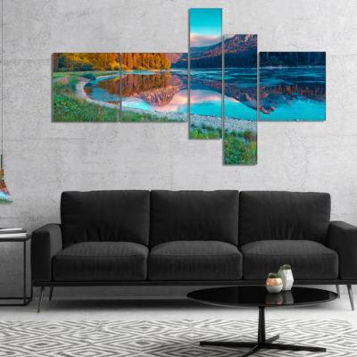 Designart Beautiful Swiss Lake Obersee MultipanelLandscape Photography Canvas Print - 5 Panels