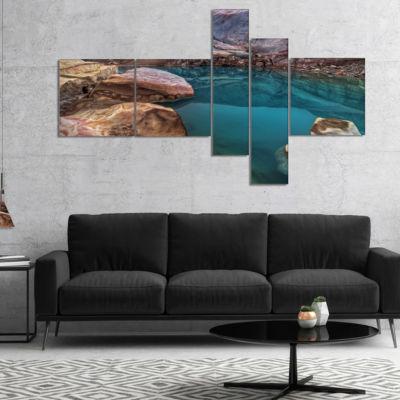 Designart Beautiful Turquoise Melt Pool MultipanelLandscape Canvas Art Print - 5 Panels