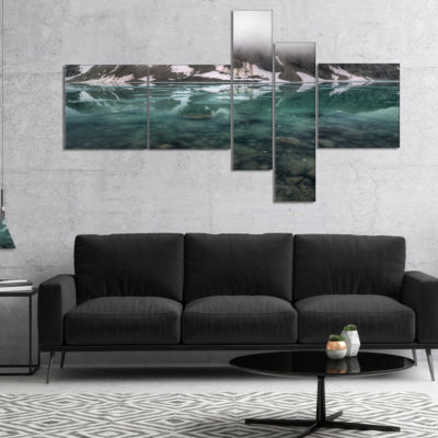 Designart Beautiful Turquoise Mountain Lake Multipanel Large Landscape Canvas Art - 4 Panels