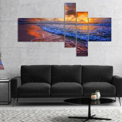 Designart Beautiful Waves Under Cloudy Sky Multipanel Seashore Canvas Art Print - 4 Panels