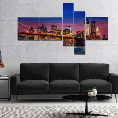 Designart Manhattan With Lights And Reflections Multipanel Extra Large Canvas Art Print - 5 Panels