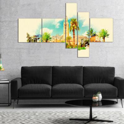 Designart Marakesh Panoramic View Multipanel Cityscape Watercolor Canvas Print - 4 Panels