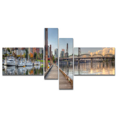 Designart Marina Along The River Multipanel Landscape Photography Canvas Print - 4 Panels