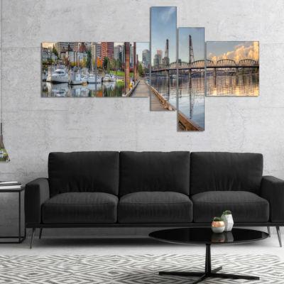 Designart Marina Along The River Multipanel Landscape Photography Canvas Print - 5 Panels