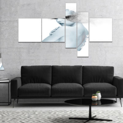 Designart Beautiful Young Woman Double Exposure Multipanel Portrait Canvas Art Print - 5 Panels