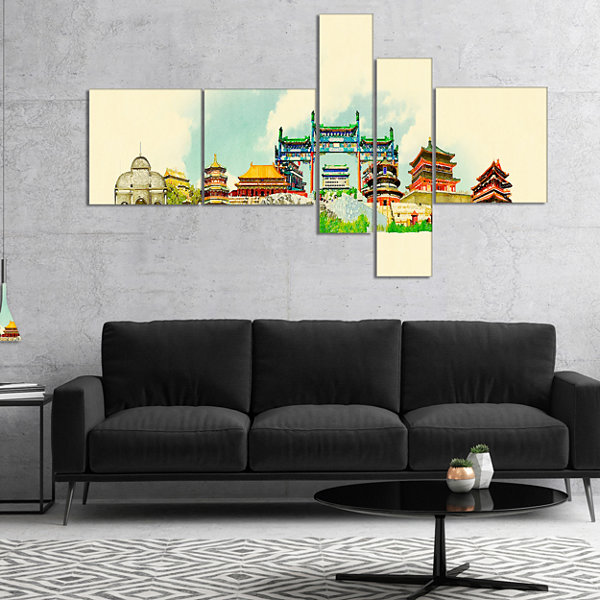 Designart Beijing Panoramic View Multipanel Cityscape Watercolor Canvas Print - 5 Panels