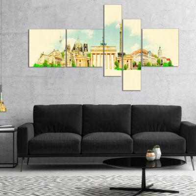 Designart Berlin Panoramic View Multipanel Cityscape Watercolor Canvas Print - 5 Panels
