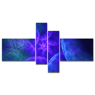 Designart Biblical Sky With Blue Clouds MultipanelAbstract Wall Art Canvas - 4 Panels