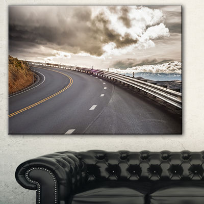 Designart Sky Road Curve Landscape Photography Canvas Art Print - 3 Panels