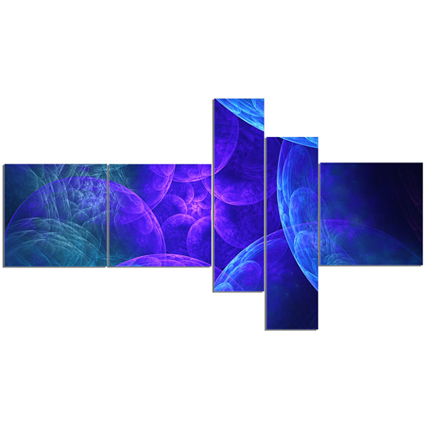 Designart Biblical Sky With Blue Clouds MultipanelAbstract Wall Art Canvas - 5 Panels