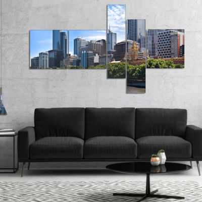 Designart Melbourne City Victoria Cityscape Multipanel Photography Canvas Art Print - 5 Panels