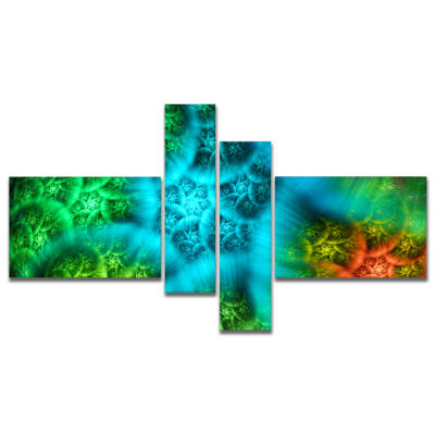 Design Art Biblical Sky With Green Clouds Multipanel Abstract Wall Art Canvas - 4 Panels