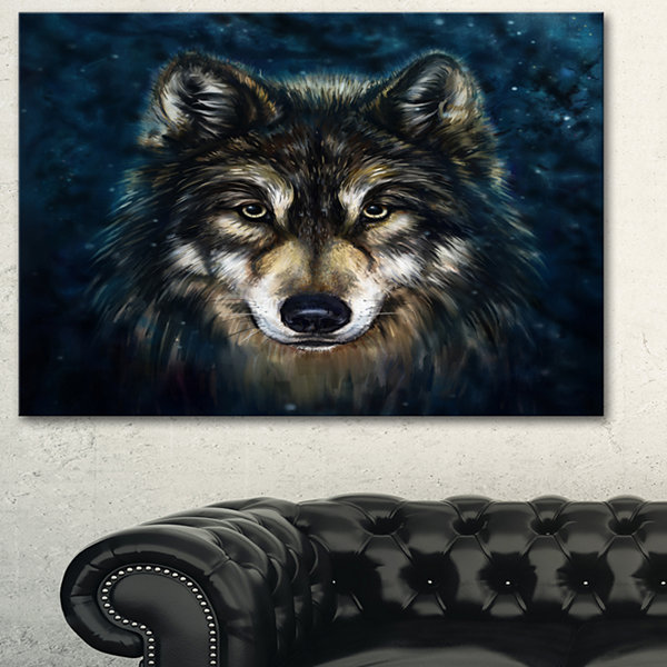 Designart Smiling Wolf Animal Wall Art Painting