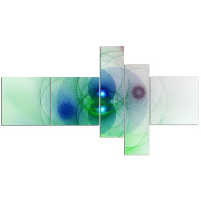 Designart Merge Colored Spheres. Multipanel Abstract Canvas Artwork Print - 5 Panels