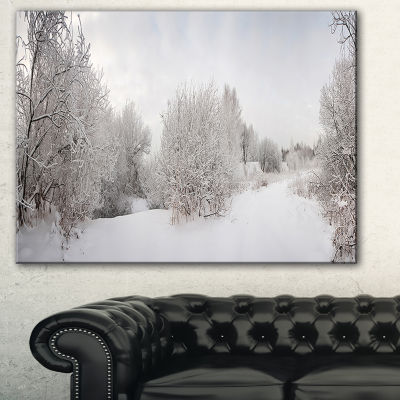Designart Snow Landscape With Frosted Trees Landscape Art Print Canvas
