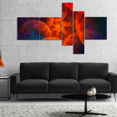 Designart Biblical Sky With Red Clouds MultipanelAbstract Wall Art Canvas - 5 Panels