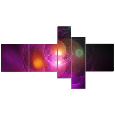 Designart Merge Colored Spheres. Multipanel LargeAbstract Canvas Artwork Print - 5 Panels