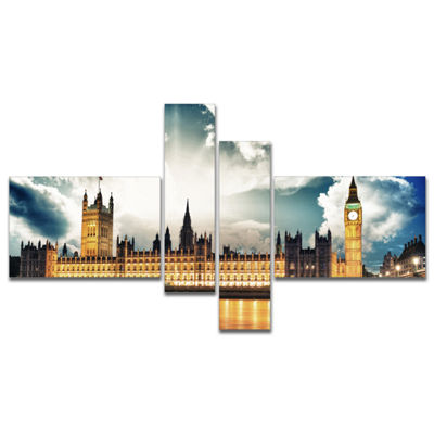 Designart Big Ben Uk And House Of Parliament Multipanel Extra Large Canvas Art Print - 4 Panels