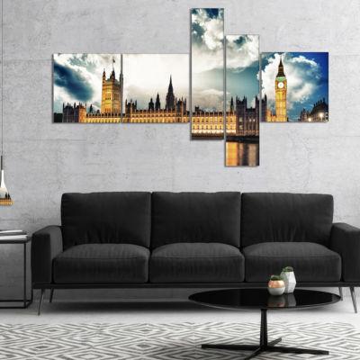 Designart Big Ben Uk And House Of Parliament Multipanel Extra Large Canvas Art Print - 5 Panels