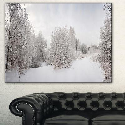Designart Snow Landscape With Frosted Trees Landscape Art Print Canvas - 3 Panels