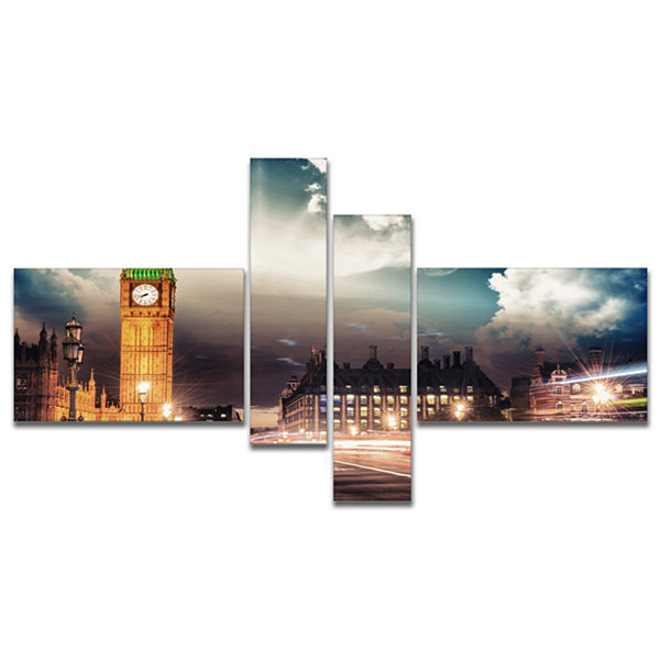 Designart Big Ben Uk From Westminster Bridge Multipanel Cityscape Photo Canvas Print - 4 Panels