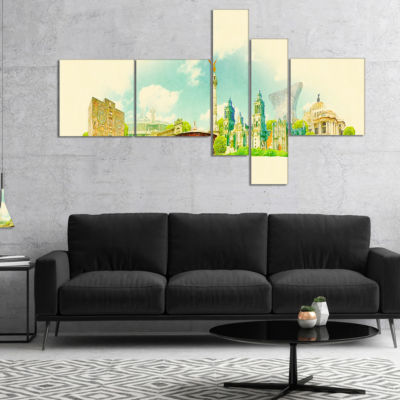 Designart Mexico City Panoramic View Multipanel Cityscape Watercolor Canvas Print - 5 Panels