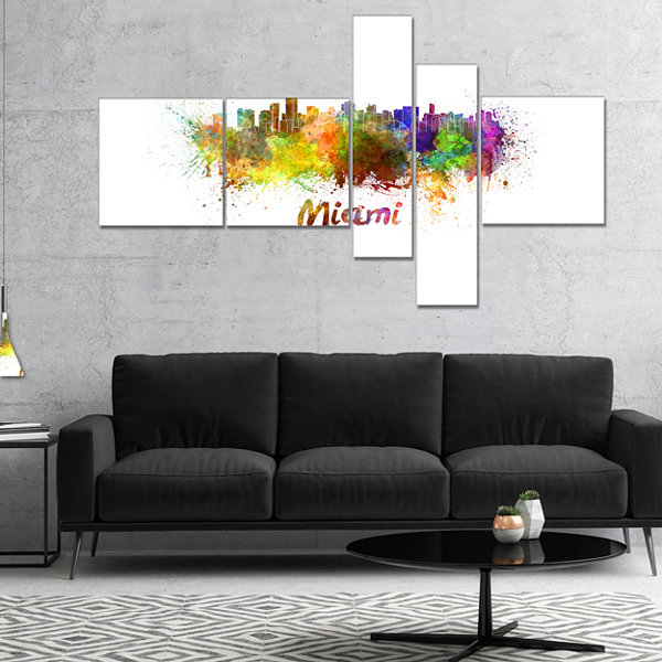 Designart Miami Skyline Multipanel Cityscape Canvas Art Print - 5 Panels