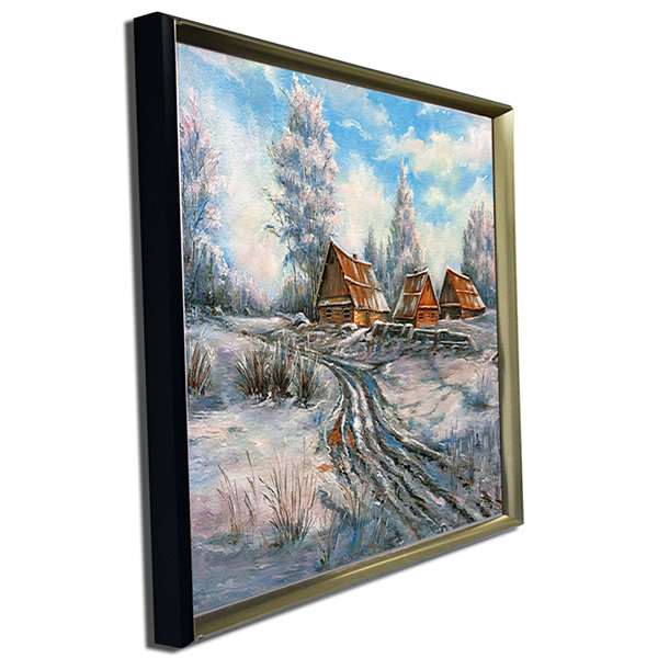 Designart Snow Village Landscape Art Print Canvas