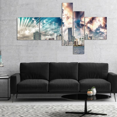 Designart Miami Skyline With Clouds Multipanel Cityscape Photo Canvas Print - 5 Panels