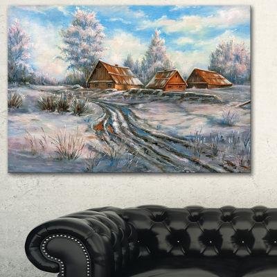 Designart Snow Village Landscape Art Print Canvas-3 Panels