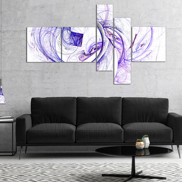 Designart Billowing Smoke Blue Multipanel AbstractCanvas Art Print - 5 Panels