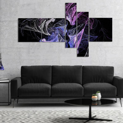 Designart Billowing Smoke Blue Purple MultipanelAbstract Canvas Art Print - 4 Panels