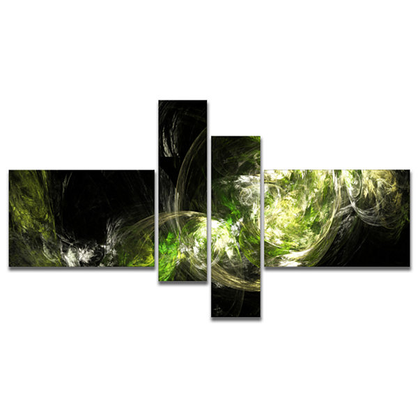 Designart Billowing Smoke Green Multipanel Abstract Canvas Art Print - 4 Panels