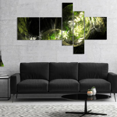 Designart Billowing Smoke Green Multipanel Abstract Canvas Art Print - 5 Panels