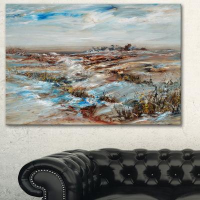 Designart Snowy Landscape Floral Canvas Art Print-3 Panels