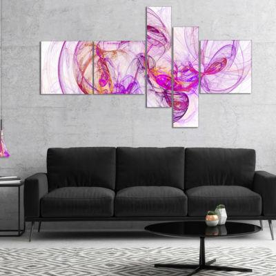 Designart Billowing Smoke Magenta Multipanel Abstract Canvas Art Print - 4 Panels